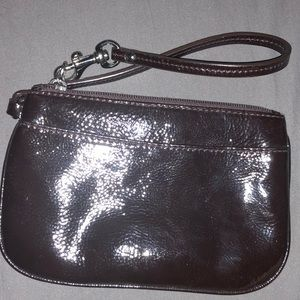 Brown Patent Leather Coach Wristlet